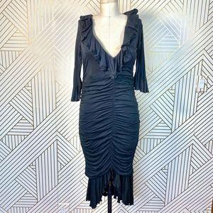 Moschino Cheap and Chic Black Ruffle Ruched Dress